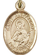 "St. Alexandra - .50"" Oval - Gold Filled Side Medal"