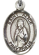 "St. Alice - .50"" Oval - Sterling Silver Side Medal"