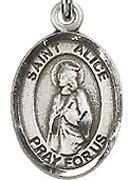 """St. Alice - .50"""" Oval - Sterling Silver Side Medal"""