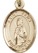 "St. Alice - .50"" Oval - Gold Filled Side Medal"