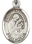 "St. Aloysius Gonzaga - .50"" Oval - Sterling Silver Side Medal"