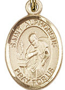 "St. Alphonsus - .50"" Oval - Gold Filled Side Medal"