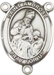 "St. Ambrose - .75"" Oval - Sterling Silver Centerpiece"