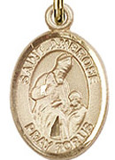 "St. Ambrose - .50"" Oval - Gold Filled Side Medal"
