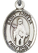 "St. Amelia - .50"" Oval - Sterling Silver Side Medal"