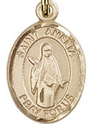 "St. Amelia - .50"" Oval - Gold Filled Side Medal"