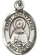 """St. Anastasia - .50"""" Oval - Sterling Silver Side Medal"""