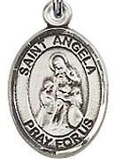 """St. Angela Merici - .50"""" Oval - Sterling Silver Side Medal"""
