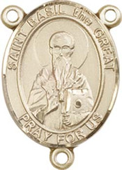 """St. Basil the Great - .75"""" Oval - Gold Filled Centerpiece"""