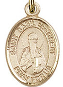 "St. - Basil the Great .50"" Oval - Gold Filled Side Medal"