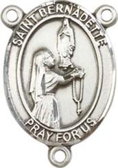 "St. Bernadette - .75"" Oval - Sterling Silver Centerpiece"