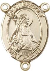 "St. Bridget of Sweden - .75"" Oval - Gold Filled Centerpiece"