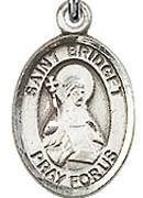 """St. . Bridget of Sweden - .50"""" Oval - Sterling Silver Side Medal"""