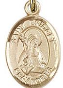 """St. Bridget of Sweden - .50"""" Oval - Gold Filled Side Medal"""
