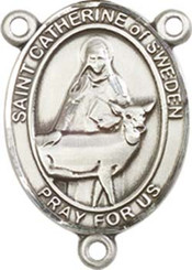 "St. Catherine of Sweden - .75"" Oval - Sterling Silver Centerpiece"