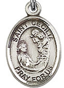 """St. Cecilia - .50"""" Oval - Sterling Silver Side Medal"""
