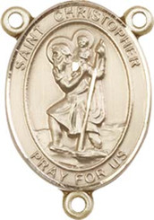 """St. Christopher  - .75"""" Oval - Gold Filled Centerpiece"""