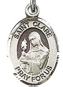 "St. Clare of Assisi - .50"" Oval - Sterling Silver Side Medal"