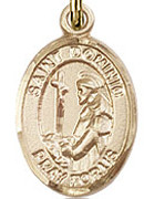 "St. Dominic De Guzman - .50"" Oval - Gold Filled Side Medal"