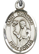 "St. Dunstan - .50"" Oval - Sterling Silver Side Medal"