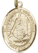"St. Edburga of Winchester  - .50"" Oval - Gold Filled Side Medal"