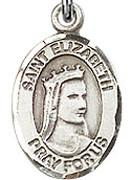 "St. Elizabeth of Hungary - .50"" Oval - Sterling Silver Side Medal"