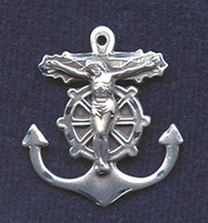 "Mariner Crucifix - 1"" - Sterling Silver"