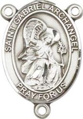 "St. Gabriel the Archangel - .75"" Oval - Sterling Silver Centerpiece"