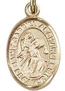 """St. Gabriel the Archangel - .50"""" Oval - Gold Filled Side Medal"""