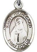 """St. Hildegard Von Bingen - .50"""" Oval - Sterling Silver Side Medal"""