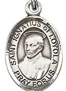 """St. Ignatius of Loyola - .50"""" Oval - Sterling Silver Side Medal"""