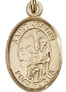 "St. Jerome - .50"" Oval - Gold Filled Side Medal"