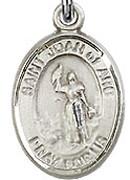 "St. Joan of Arc  - .50"" Oval - Sterling Silver Side Medal"