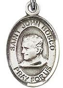 """St. John Bosco   - .50"""" Oval - Sterling Silver Side Medal"""