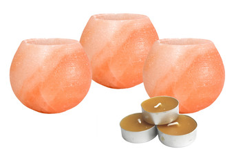 Pink Himalayan Salt Candle Holder Set