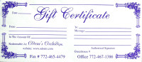 Orchid Gift Certificates