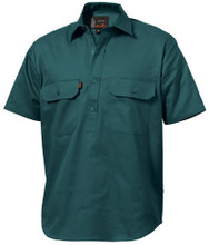 K04060 King Gee Closed Front Drill Shirt S/S - Green