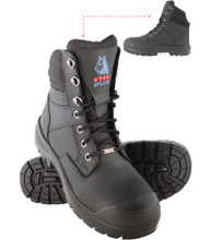 342360 Southern Cross - Nitrol Outsole, Anti-Static, Bump Cap, Water Resistant Steel Toe Cap Safety Boot.  Black