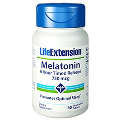 Melatonin 6 Hour Timed Release 750 mcg, 60 vegetarian tablets