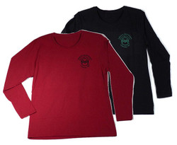 Ladies Long Sleeve Tee Shirts in Red or Black