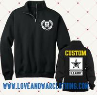Custom Name 1/4 Zip ARMY