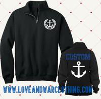 Custom Name 1/4 Zip Navy