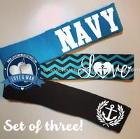 3 pack NAVY branch headband set $12.95