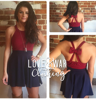 Navy + Burgundy bow dress