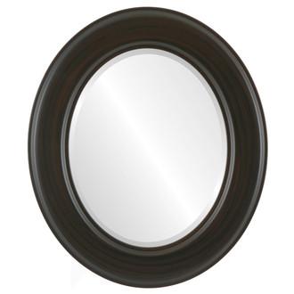 Model #6A - #796 Oval Framed Mirror in Black Walnut