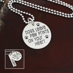 "Sterling Silver ""Dogs Leave Paw Prints On Your Heart"" Necklace"