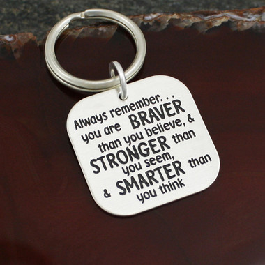 "Sterling Silver ""Always Remember"" Key Ring"