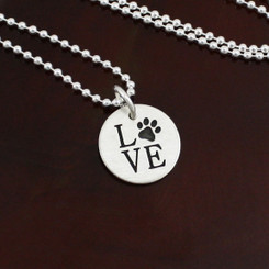 "Sterling Silver ""Love"" Pawprint Necklace"