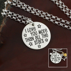 "Sterling Silver ""I love you more than all the stars"" Necklace"