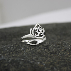 Adjustable sterling silver ohm and lotus ring